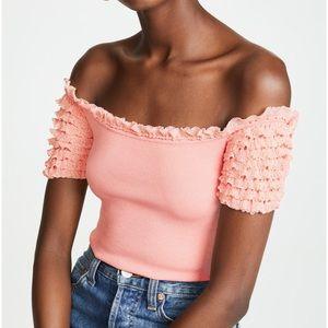 Ronny Kobo Flamingo Tzivia rib knit ruffle sleeves